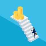 Плоское 3d равновеликое Бизнесмен в костюме держа портфель идя на лестницу к деньгам и успеху Шаг лестницы к успеху бесплатная иллюстрация
