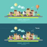 Плоское townscape дизайна Бесплатная Иллюстрация