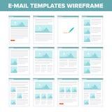 Плоское wireframe шаблонов электронной почты Стоковые Изображения RF
