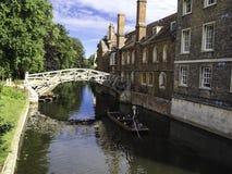 Плоскодонки выровнялись вверх на реке в Кембридже Англии Стоковое фото RF