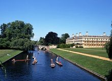Плоскодонки на кулачке реки, Кембридже Стоковые Фото