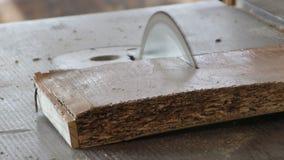 Плотник отрезал древесину сток-видео