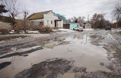 Плохая русская дорога Стоковая Фотография