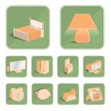 Плохие значки комнаты установили, иллюстрация eps 10 Стоковое Изображение RF