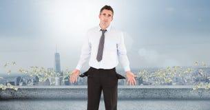 Плохой бизнесмен с деньгами летания Стоковые Фотографии RF