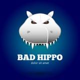 Плохой гиппопотам Логотип для талисмана команды спорта Стоковая Фотография RF