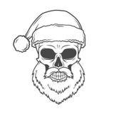 Плохой плакат велосипедиста Санта Клауса тяжелый метал Стоковое Изображение
