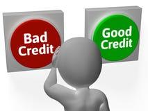 Плохой хороший кредит показывает задолженность или заем Стоковое Изображение