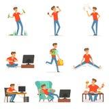 Плох привычки установили, алкоголизм, наркомания, курить, зависимость компьютера и видеоигры, покупки, обжорство с иллюстрация вектора
