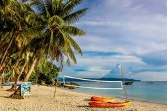 Площадка для пляжного волейбола, пляж Diniwid, остров Boracay, Филиппины Стоковое Изображение RF