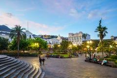 Площадь большая в старом городке Кито, эквадоре Стоковые Фотографии RF