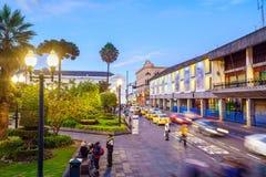 Площадь большая в старом городке Кито, эквадоре Стоковые Изображения RF
