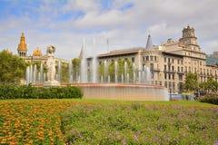 Площадь Catalunya, Барселона, Испания Стоковое Изображение