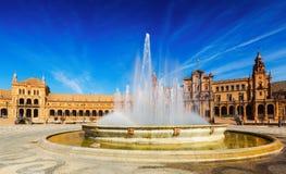 Площадь de Espana с фонтаном seville Испания Стоковые Изображения RF