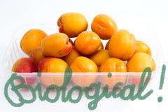 Плодоовощи абрикоса packged на пакете супермаркета пластичном Стоковая Фотография RF