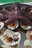 Плодоовощи еды пальца моря с осьминогом Стоковая Фотография