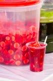 Плодоовощи и сок готовые для служения, бананы на пластмасовом контейнере Образец в пластичном стекле Стоковое Изображение RF