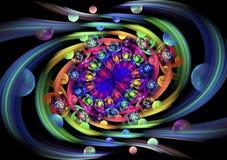 Плодоовощи и цветки Eden Абстрактная пестротканая свирль на черной предпосылке Стоковые Фотографии RF
