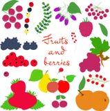 Плодоовощи и ягоды на размере прозрачной предпосылки большом Стоковое Изображение RF
