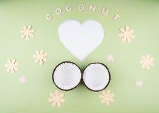 Плодоовощи кокосов на зеленой предпосылке Стоковое Изображение RF