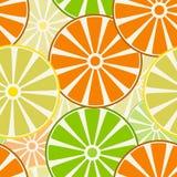 Плодоовощи, куски апельсинов, лимоны и известки картина безшовная Стоковые Изображения
