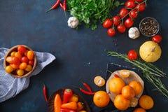 Плодоовощи, овощи и травы на голубой предпосылке Стоковое Фото