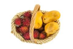 Плодоовощи рамбутана и мангоа III Стоковое Изображение RF