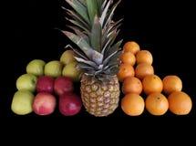 Плодоовощ ананаса, апельсина, и яблок Стоковая Фотография