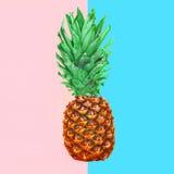 Плодоовощ ананаса на красочной розовой голубой предпосылке, ананасе Стоковая Фотография