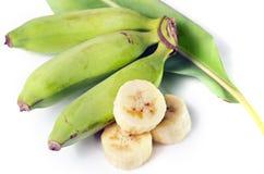 Плодоовощ банана отрезанный с лист Стоковая Фотография