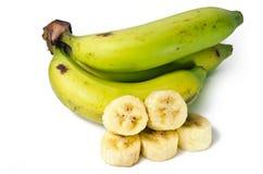 Плодоовощ банана отрезанный с лист Стоковые Изображения RF