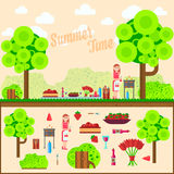 Плодоовощ, вино, барбекю, гриль на траве Луг пикника лета Иллюстрации для вебсайта, знамена вектора плоские Стоковые Фотографии RF