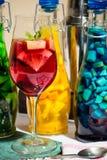 Плодоовощ лета покрасил коктеили, лимонад, вино в стекле, фото студии Стоковые Фотографии RF