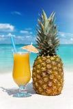 Плодоовощ и сок ананаса на пляже Стоковые Изображения