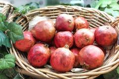 Плодоовощ красного гранатового дерева весь показанный на корзине Стоковые Изображения