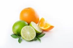 Плодоовощ Оранжевая известка лимона и зеленые листья мяты Стоковая Фотография