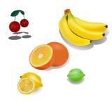 Плодоовощ установил - вишню, банан, апельсин, лимон, известку На белой иллюстрации вектора предпосылки Стоковые Изображения