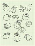 Плодоовощ чертежа от руки на бумаге. бесплатная иллюстрация