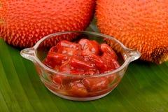 Плодоовощ Gac, джекфрут младенца, колючая горькая тыква, сладостная тыква или тыква Cochinchin, плодоовощ Стоковые Изображения RF