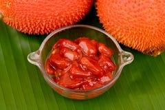 Плодоовощ Gac, джекфрут младенца, колючая горькая тыква, сладостная тыква или тыква Cochinchin, плодоовощ Стоковое Фото