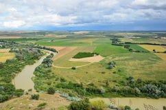 Плодородная долина испанского реки Гвадалквивира Стоковая Фотография