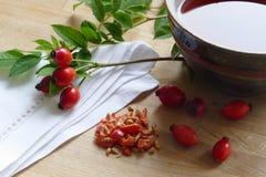 Плоды шиповника и чай розового бедра в чашке гончарни, усиливая I Стоковая Фотография