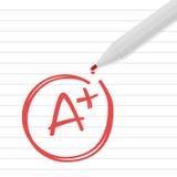 A плюс ранг на линии бумаге с красной ручкой Стоковое Изображение RF