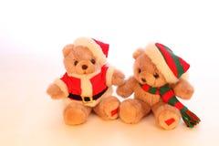 2 плюшевого медвежонка в одеждах рождества Стоковая Фотография
