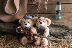 2 плюшевого медвежонка в студии амбара Стоковое Фото