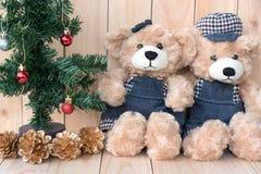 2 плюшевого медвежонка на деревянной предпосылке Стоковая Фотография RF