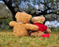 2 плюшевого медвежонка сидя в саде с влюбленностью.  Стоковое Изображение RF