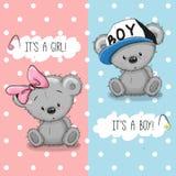 Плюшевые медвежоата мальчик и девушка Стоковое фото RF