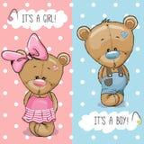 Плюшевые медвежоата мальчик и девушка иллюстрация штока