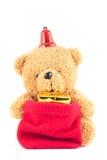Плюшевые медвежоата с подарочной коробкой в фестивале Нового Года Стоковая Фотография